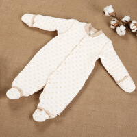 活力熊仔 童装冬季婴幼儿衣服 连体衣哈衣 天然彩棉保暖加厚手脚套宝宝连身衣
