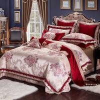家纺欧式婚庆四件套大红床上用品贡缎提花1.8m双人床六八十件套被套