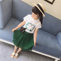 女童套装夏季新款中小童甜美圆领短袖T恤+百褶半身裙两件套潮