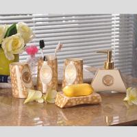 卫浴五件套陶瓷欧式洗漱套装漱口杯浴室用品套件牙具牙刷杯套装