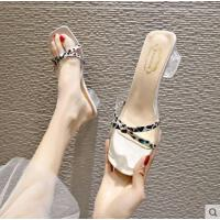 拖鞋女新款时尚女凉鞋方头中跟凉拖款外穿百搭女鞋高跟鞋潮
