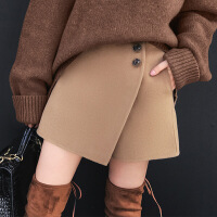 秋冬新款显瘦显腿长手工双面呢羊毛呢子短裙裤外穿短裤裙女