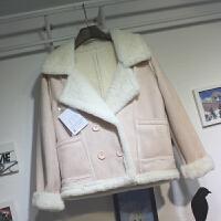 秋冬新款韩版皮毛一体加厚羊羔毛鹿皮绒短款外套女学生冬季潮