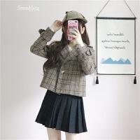 2018春装新款女装韩版学生短款百搭显瘦西装领格子拼接毛呢外套女 咖啡色 M