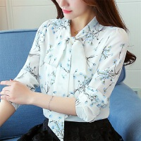 RANJU 然聚2018女装春夏季新品新款小衫韩版长袖上衣印花雪纺衫休闲衬衫