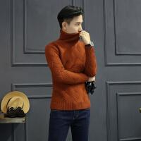 针织毛衣男士潮流修身套头高领针织衫菱形厚款线衫男
