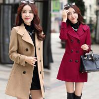 风衣女中长款韩版冬季加厚2017秋冬新款气质修身英伦风毛呢外套女