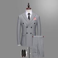 韩版修身男士双排扣纯色西装正装职业西服男套装三件套新郎夜店