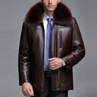 冬装中老年真皮皮衣男装中长款绵羊皮草男貂皮皮毛一体爸爸装外套