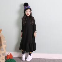 2018韩版秋冬季新款童装中大女童不倒绒长袖连衣裙长款亲子装打底