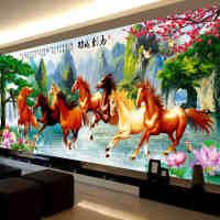 八马图十字绣八骏图2.5米 八匹马十字绣马到成功万马奔腾新款客厅
