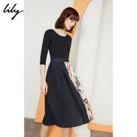 【2件4折到手价:459.6元】 Lily秋新款女装拼接不对称收腰长款百褶连衣裙119320C7631