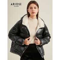 艾诺丝雅诗春秋新款简约羽绒服抽绳设计感黑白撞色外套