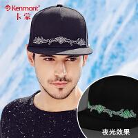 kenmont男士帽子秋冬韩版潮刺绣荧光帽平沿帽街舞嘻哈鸭舌帽板帽2455