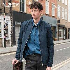 VIISHOW潮牌男装秋新品夹克纯色棒球领夹克外套男薄款jacket