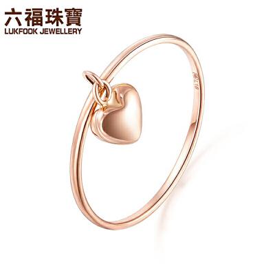 六福珠宝彩金戒指心形18K玫瑰金戒指女金指环闭口戒定价L18TBKR0020R支持使用礼品卡