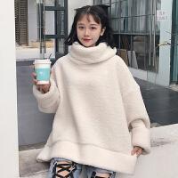秋冬女装韩版宽松加厚毛绒卫衣高领保暖毛毛外套学生可爱套头上衣
