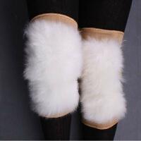 羊毛护膝皮毛一体护膝冬季关节炎保暖加厚羊皮护膝内用 内护膝(粘扣款) 均码