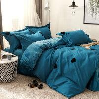 韩版法莱绒四件套床上加厚珊瑚绒被套双面绒法兰绒冬季水晶绒床单