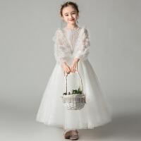 儿童礼服公主裙花童白色蓬蓬纱长袖钢琴演出服冬