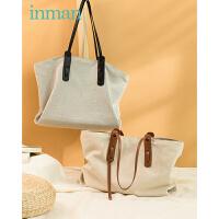 茵曼帆布托特包子母包新款包包女大容量通勤包女包单肩手提包