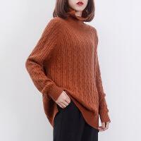 秋冬新款羊绒衫女高领加厚扭花毛衣宽松套头短款针织衫羊毛打底衫