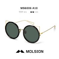 Molsion陌森太阳镜女士猫眼俏皮圆框墨镜可爱个性圆形眼镜MS6006