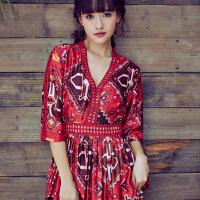 夏季新款巴厘岛海边度假沙滩长裙夏季波西米亚长裙印花连衣裙