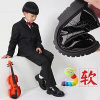 男儿童黑色春秋款英伦cgh风大小学生花童夏季男孩演出鞋男童皮鞋