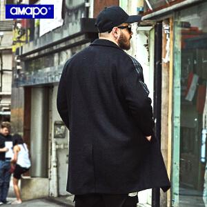 【限时抢购到手价:229元】AMAPO潮牌大码男装加肥加大码胖子宽松中长款嘻哈毛呢大衣男外套