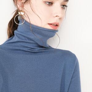 2018秋冬新款加厚堆堆领套头毛衣女短款修身长袖内搭高领针织打底衫宽松大码