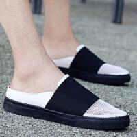 夏季韩版凉拖休闲防滑沙滩鞋懒人情侣鞋网布洞洞鞋男士拖鞋凉鞋子