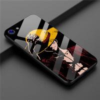 iPhone8plus海贼王手机壳苹果X路飞玻璃壳6SP索隆钢化壳7P艾斯保护套6S动漫卡通潮牌情侣 6/6S 黑草帽
