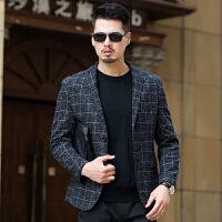 春秋薄款男士休闲西服中年小西装男修身韩版爸爸装外套商务单西潮 55款 黑灰色