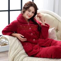 情侣睡衣女冬季夹棉加厚加绒大码三层珊瑚绒保暖男士家居服冬套装l 1711玫红 M