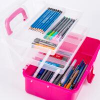 三层塑料水彩颜料便携写生绘画手提箱美术工具箱收纳初学者