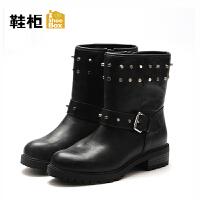 达芙妮集团/鞋柜冬款休闲厚底短靴潮平底简约-1