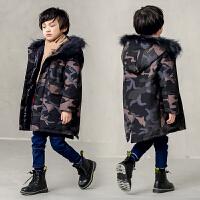 儿童迷彩中长款棉袄2018新款韩版后款洋气男孩外套