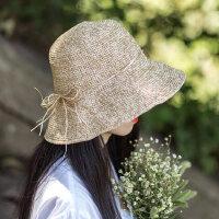 拉菲草帽女户外防晒小清新折叠帽子编织沙滩旅游时尚遮阳帽