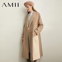 Amii极简洋气时尚气质羊毛呢外套女2019冬季新款翻驳领开叉上衣
