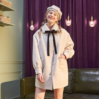 [直降]唐狮冬装新款仿毛呢外套女中长款秋冬季森系原宿风呢子大衣