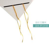 波浪耳环银女网红耳线长款气质显脸瘦的彩银镀黄金耳坠珍珠 (金色)罗马针款 波浪银耳坠 一对价