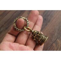 手工复古黄铜风水铃铛纯铜三狮铜铃钥匙扣镇宅保平安风铃