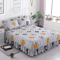 席梦思加厚床罩夹棉床裙式床套单件保护套1.5米1.8m床单床笠T 浅灰色 笑脸皇冠
