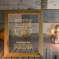 足球球迷礼物皇马利物浦球队标LED台灯小夜灯摆件相框礼品