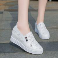 时尚女鞋镂空小白鞋厚底单鞋平底百搭内增高休闲透气