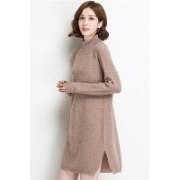 长款高领羊毛毛衣裙 2017冬季新品女式羊毛打底裙 韩版毛衣打底衫