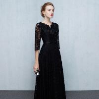 宴会晚礼服2018新款冬季长款时尚长袖修身礼服女连衣裙黑色主持人