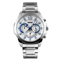 户外运动男士大表盘防水石英六针手表商务男表潮流时尚钢带个性腕表