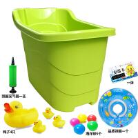婴儿游泳桶塑料家用新生儿游泳池婴幼儿童浴盆大号宝宝洗澡盆浴桶 普通绿色 +脖圈礼包 0-1岁游泳